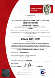 Gold Security Group INT Pty Ltd; Bureau Veritas Standard OHSAS 18001:2007.png