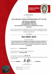 Gold Security Group INT Pty Ltd; Bureau Veritas Standard ISO 29001:2010.png