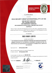 Gold Security Group INT Pty Ltd; Bureau Veritas ISO Standard 9001:2015.png